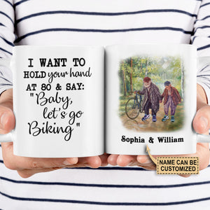 Personalized Cycling I Want To Hold Your Hand Customized Mug