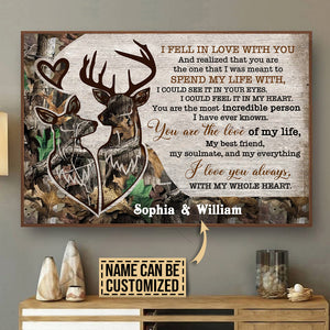 Personalized Deer Couple Camo I Fell In Love Poster