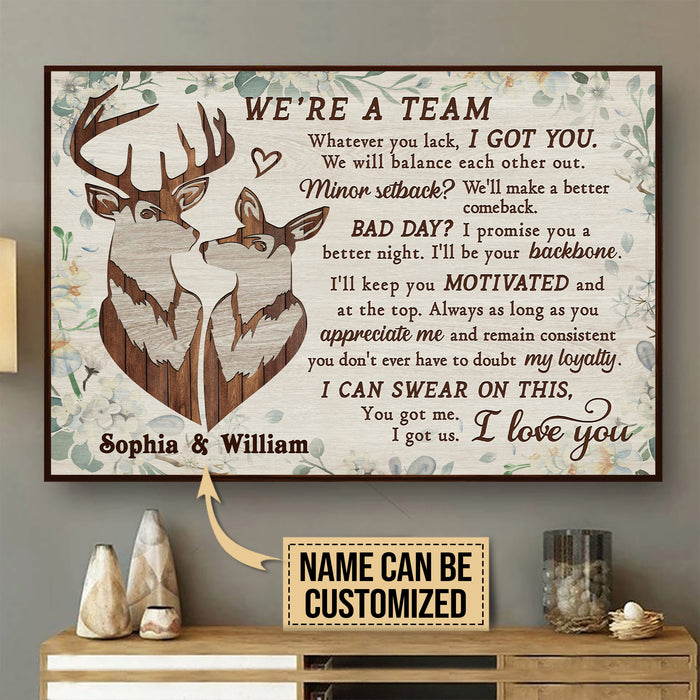 Personalized Deer Pallet We're A Team Poster