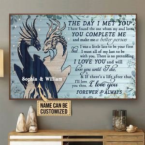 Personalized Dragon Blue Pallet The Day I Met You Poster
