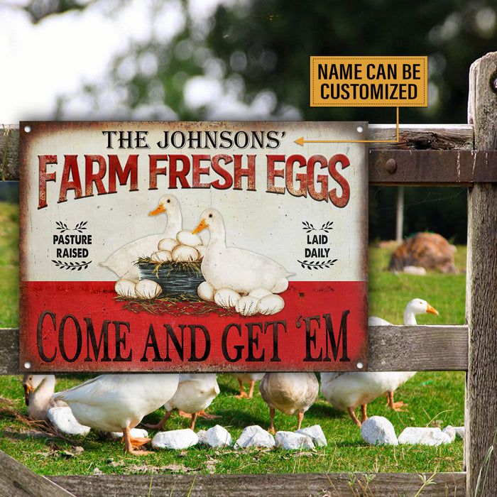 Personalized Duck Farm Fresh Eggs Customized Classic Metal Signs