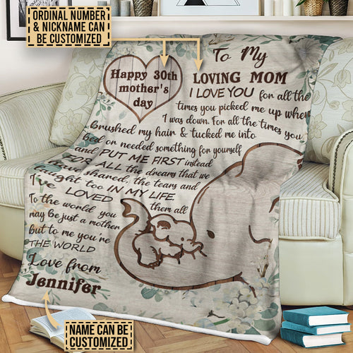 Personalized Elephant Heart Love For All Customized Fleece Blanket