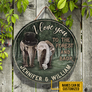 Personalized Elephant I Love You To The Forest And Back Customized Wood Circle Sign