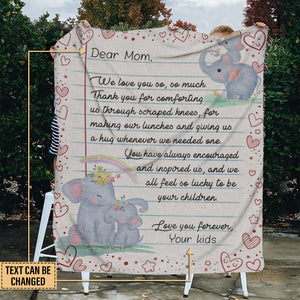 Personalized Elephant We Love You So Customized Fleece Blanket