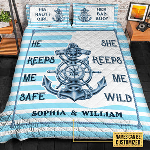 Personalized Fisherman Keep Me Safe Customized Quilt Bedding