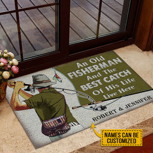 Personalized Fishing Old Couple The Best Catch Live Here Customized Doormat