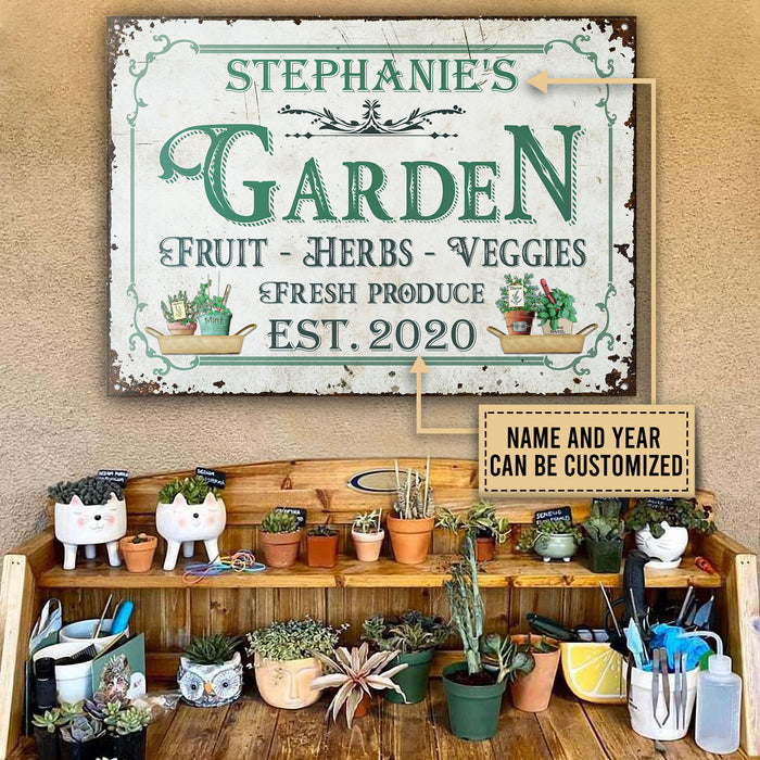 Personalized Garden Fresh Produce Fruits Herbs Veggies Customized Classic Metal Signs