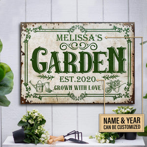 Personalized Gardening Grown With Love Customized Classic Metal Signs