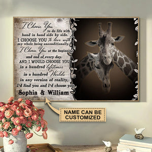 Personalized Giraffe I Choose You Poster