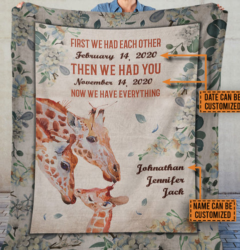 Personalized Giraffe We Have Everything Customized Fleece Blanket