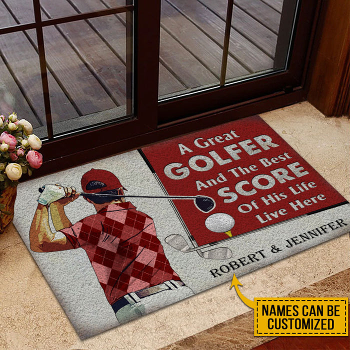 Personalized Golf Red Couple Golfer Best Score Live Customized Doormat