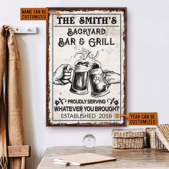 Personalized Grilling Bar Dog Proudly Serve Customized Poster