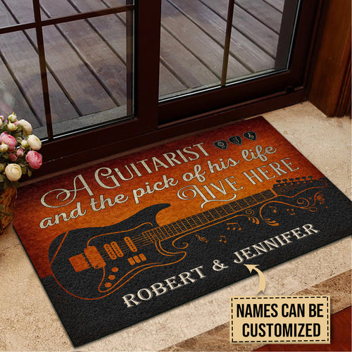 Personalized Guitarist And The Pick Live Here Customized Doormat