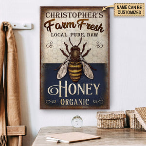 Personalized Honey Bee Navy Farm Fresh Poster