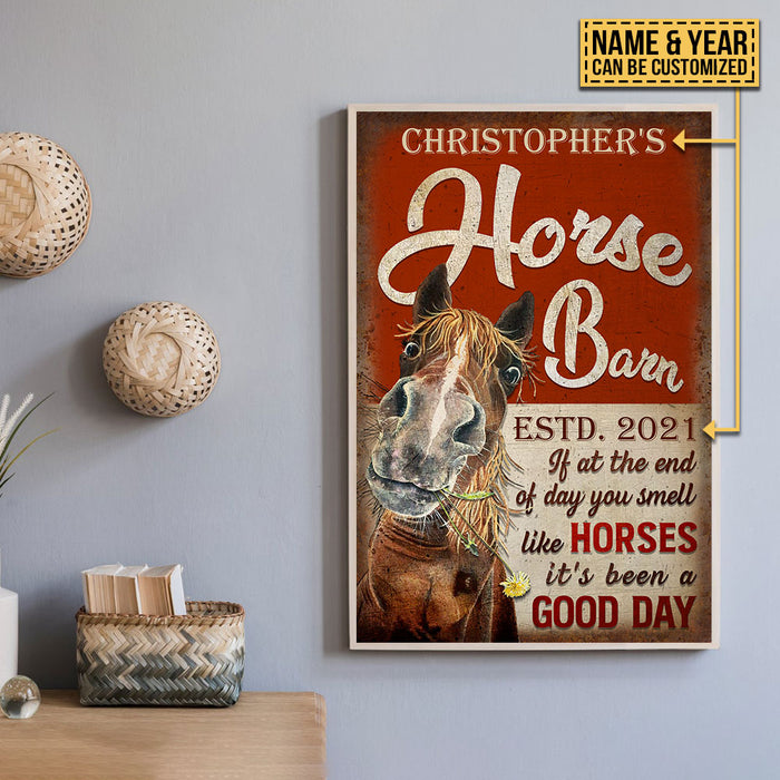 Personalized Horse Barn Good Day Customized Poster