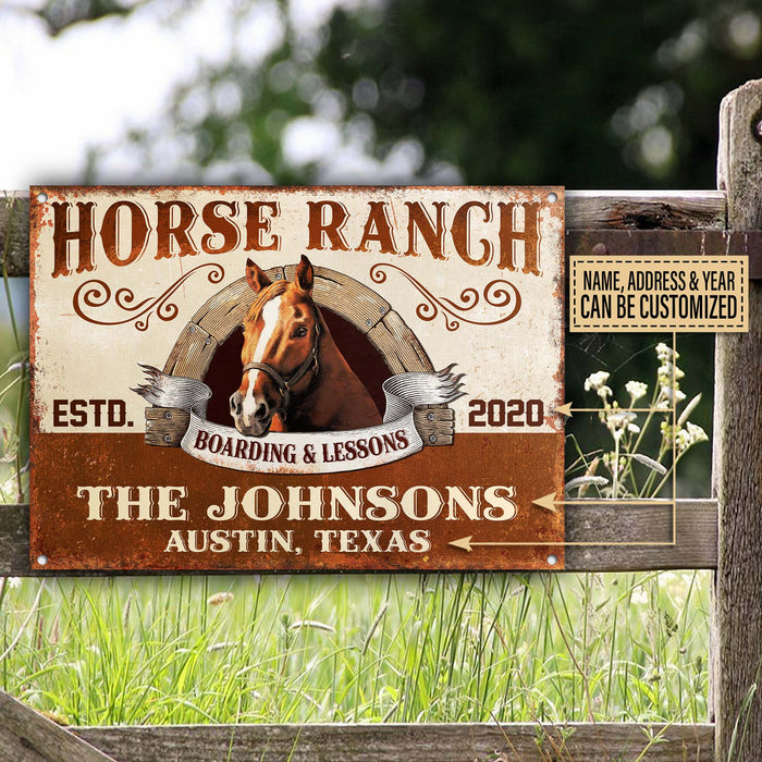 Personalized Horse Ranch Boarding & Lessons Customized Classic Metal Signs