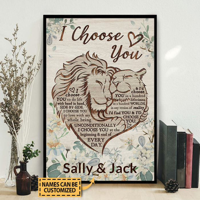 Personalized Lion Floral Couple I Choose You Customized Poster