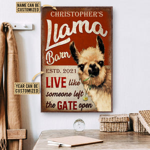 Personalized Llama Barn The Gate Open Customized Poster