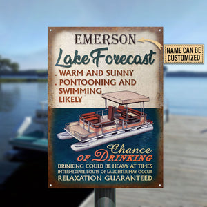 Personalized Pontooning Lake Forcast Warm And Sunny Customized Classic Metal Signs