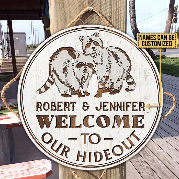 Personalized Raccoon Welcome Hideout Customized Wood Circle Sign
