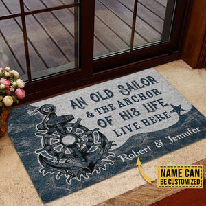 Personalized Sailor Anchor Of His Life Customized Doormat