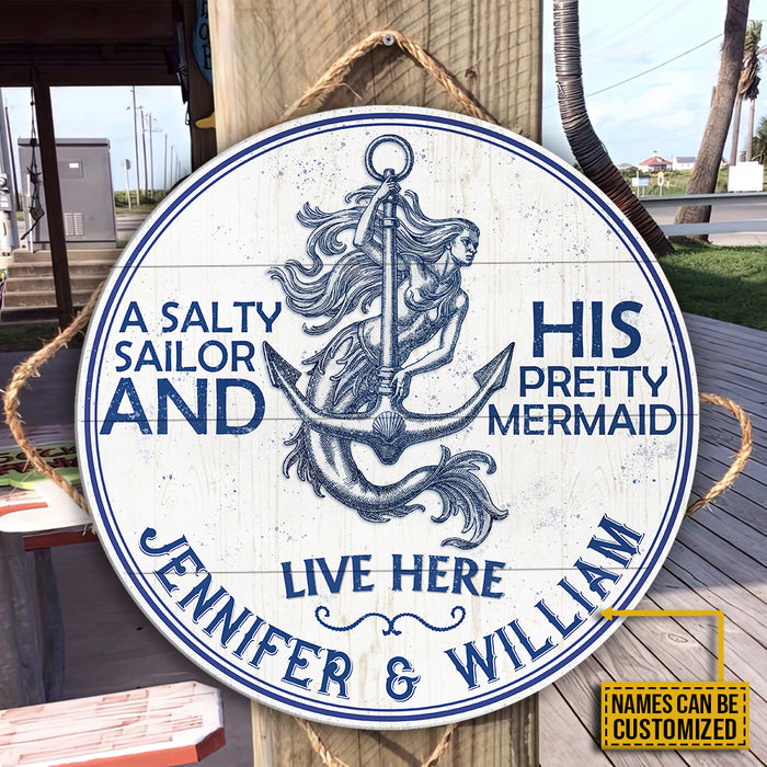 Personalized Sailor Salty Sailor Mermaid Customized Wood Circle Sign
