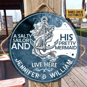 Personalized Sailor Sea Mermaid Customized Wood Circle Sign