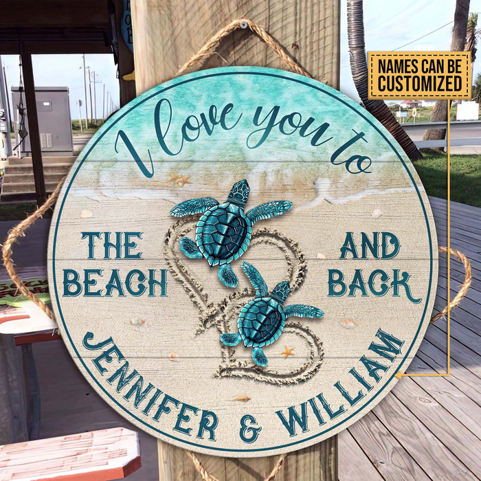 Personalized Sea Turtle I Love You Customized Wood Circle Sign