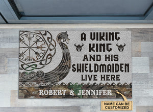 Personalized Viking King And Shieldmaiden Doormat