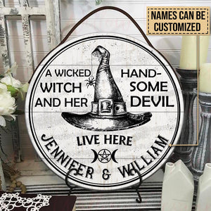 Personalized Witch Handsome Devil Customized Wood Circle Sign