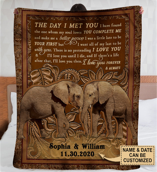 Personalized Elephant The Day I Met You Blanket Fleece Blanket