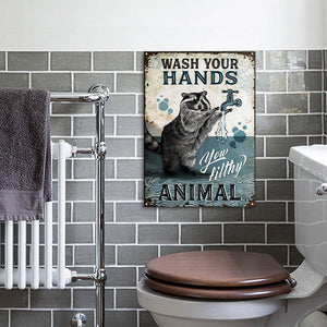 Raccoon Wash Your Hand Customized Classic Metal Signs