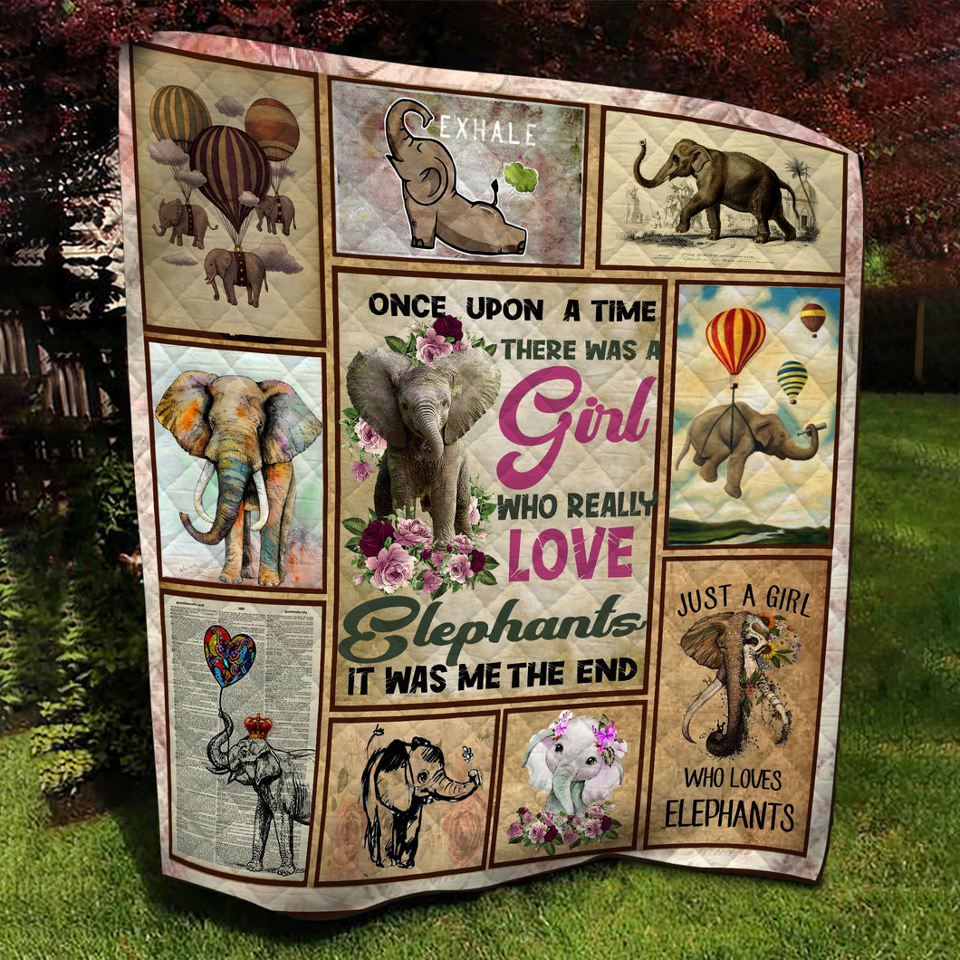 Red Rose Girl Who Really Loves Elephants Quilt