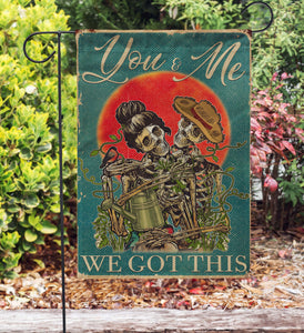 Retro Teal Skeleton Couple We Got This Garden Flag