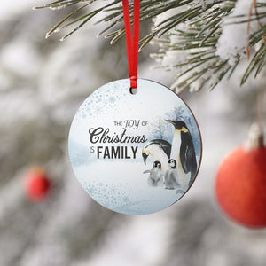 The Joy Of Christmas Penguin Round Ornament