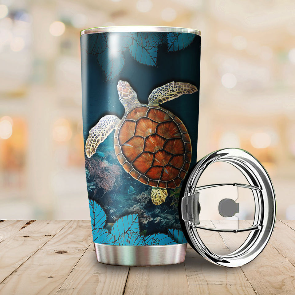 To The Ocean Blue Turtle Tumbler