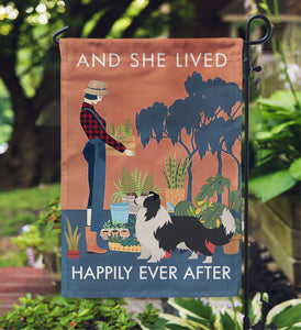 Vintage She Lived Happily Gardening Border Collie Garden Flag