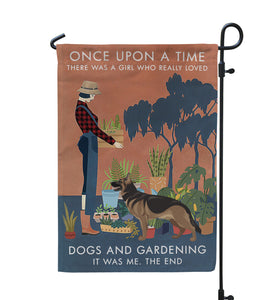 Vintage Once Upon A Time Gardening German Shepherd Garden Flag