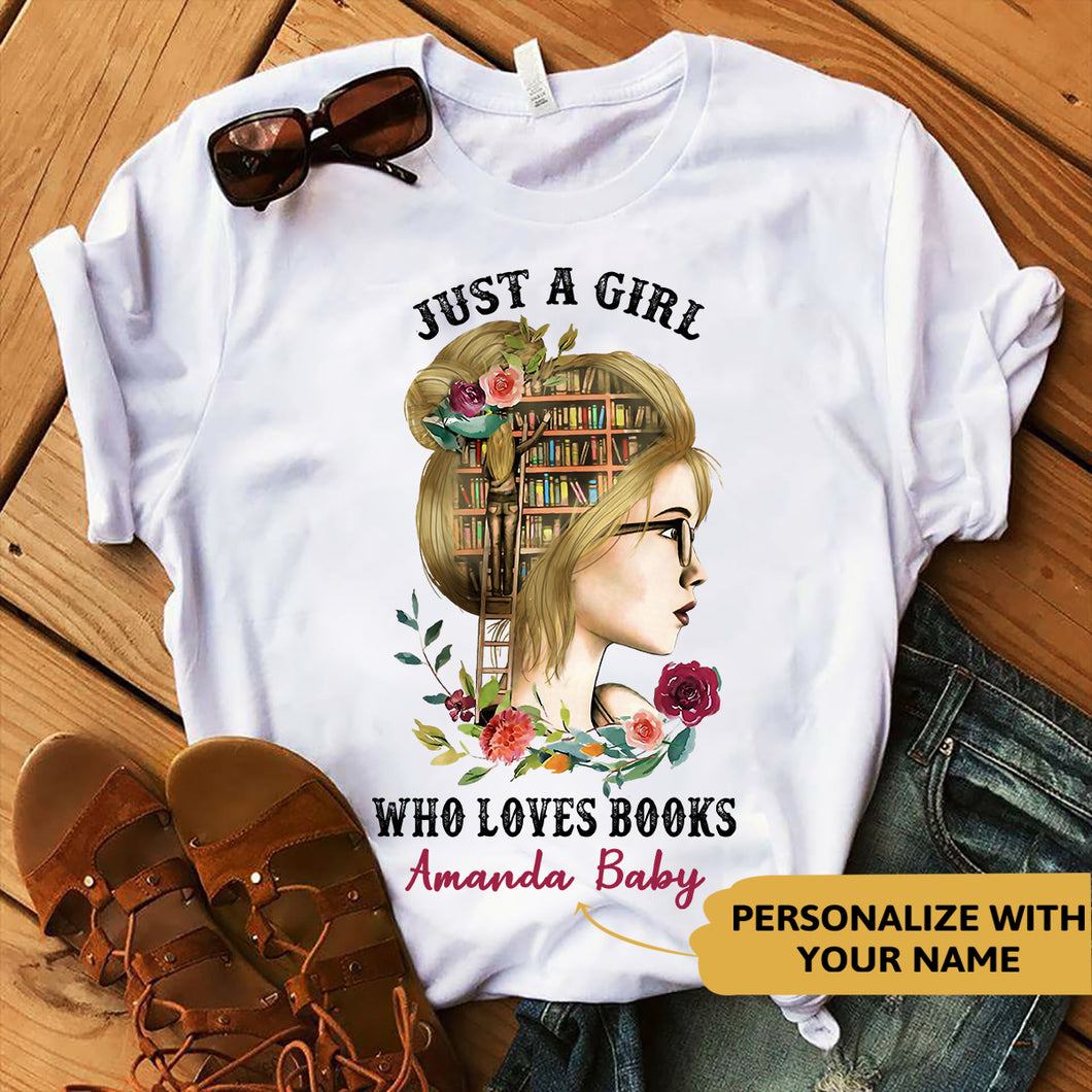 Personalized - Who Loves Books Blond Reading Custom Tshirt