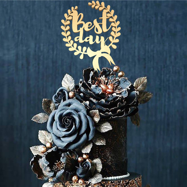 Best Day Metallic Silver Wedding Custom Cake Topper  General Cake Topper  - GlobalWedding