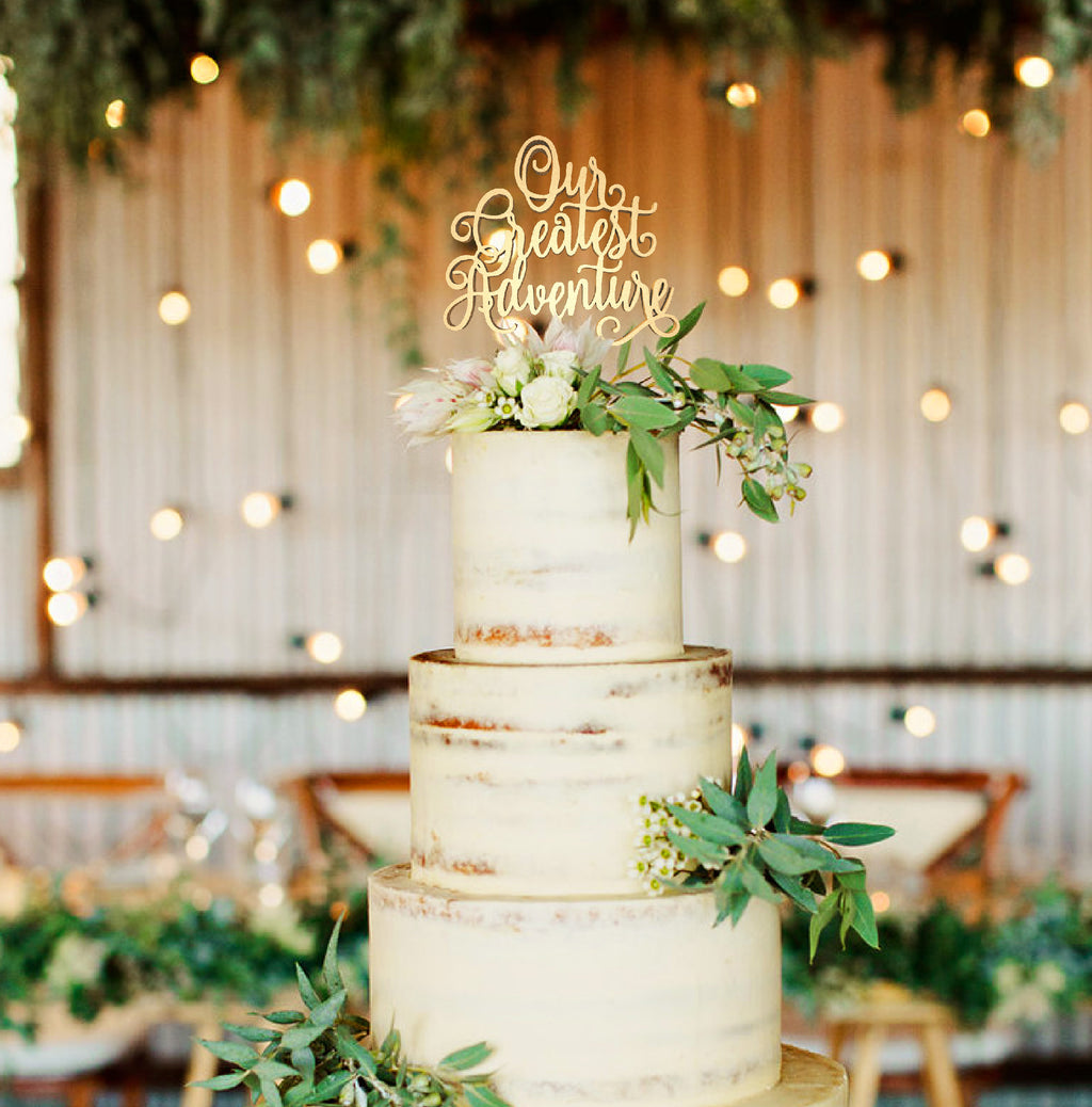 Rustic Decoration Metallic Our Greatest Adventure Cake Topper