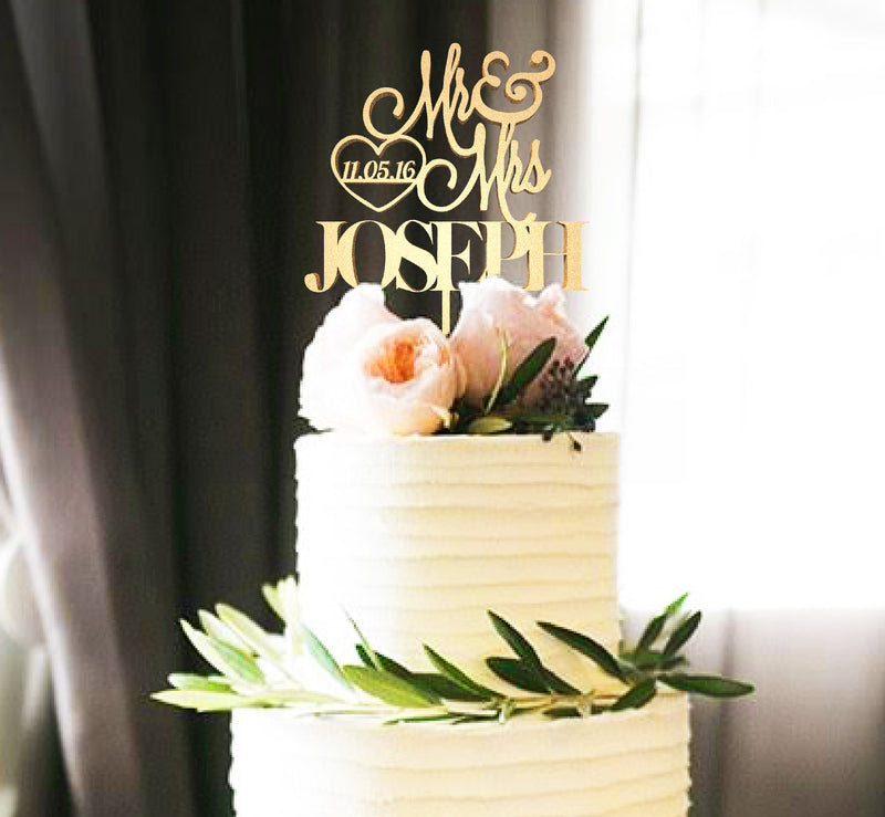 Decoration Calligraphy Gold Rose Gold Mr & Mrs Joseph Cake Topper  Personalised Cake Topper  - GlobalWedding