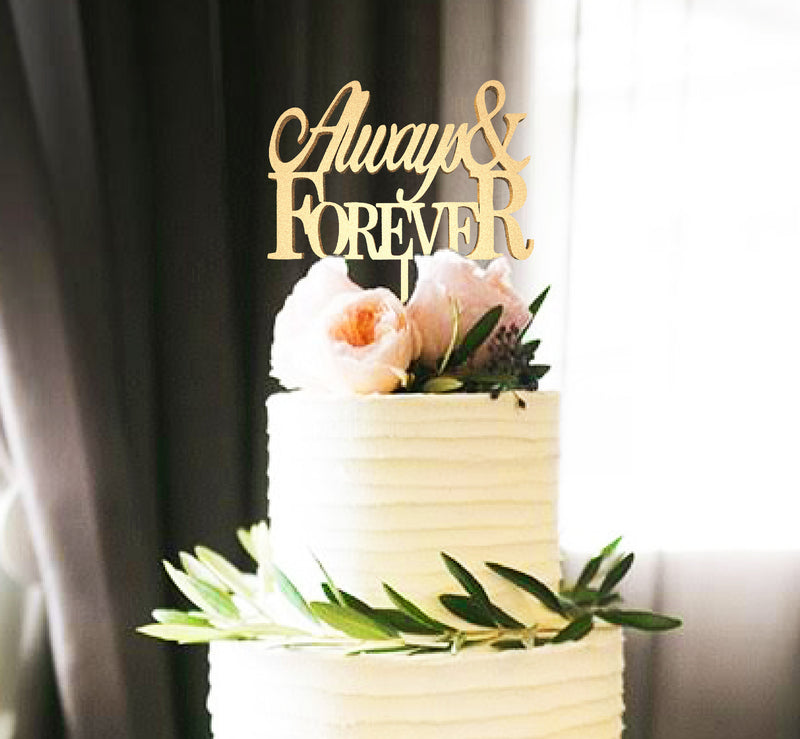 Always & Forever Natural Wood Mirror Elegant Cake Topper  General Cake Topper  - GlobalWedding