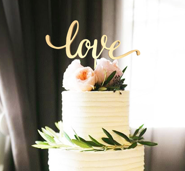 Calligraphy Decoration Glitter Natural Love Cake Topper  Personalised Cake Topper  - GlobalWedding