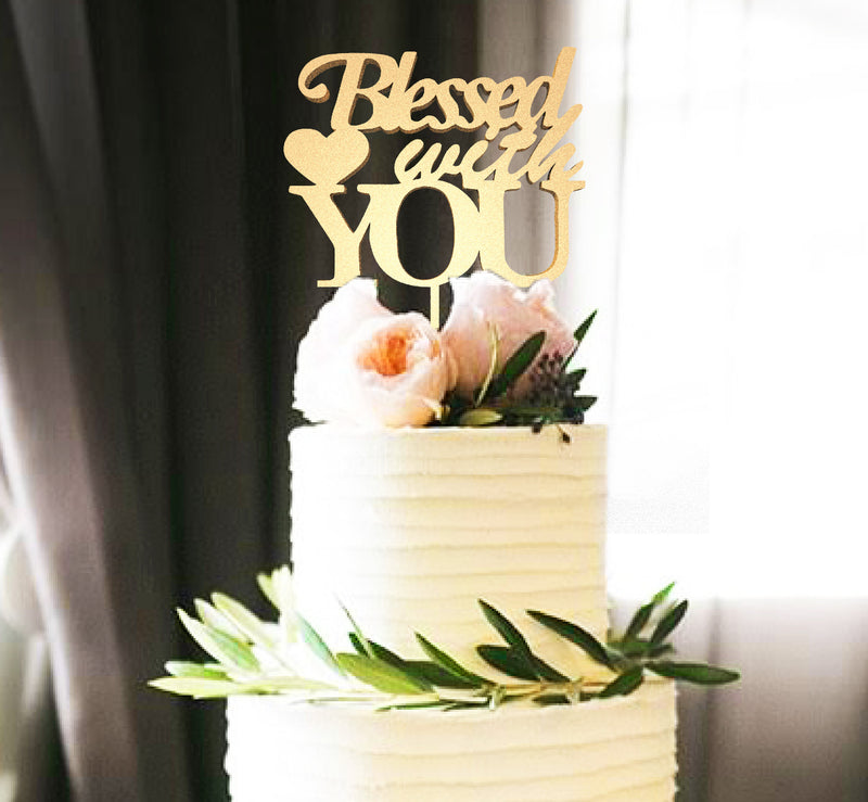 Blessed With You Handmade Copper Natural Cake Topper  Personalised Cake Topper  - MatchMadeAbroad