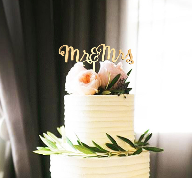 Natural Gold Metallic Mr & Mrs Acrylic Cake Topper
