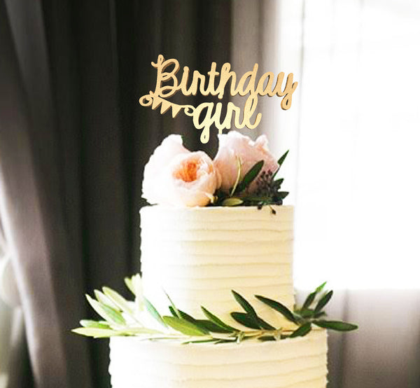 Rustic Birthday Girl Copper Gold Calligraphy Cake Topper