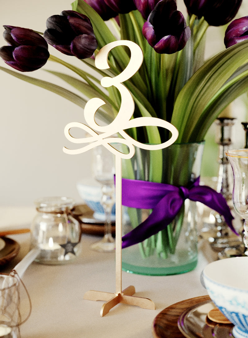 Decoration Engraved Modern Wedding Table Numbers    - MatchMadeAbroad