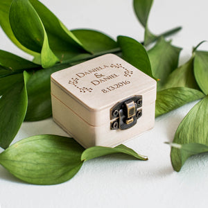 Wooden Personalised Keepsake Rustic Ring Box