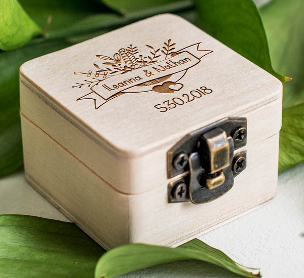 Engraved Keepsake Weeding Ring Box  Ring Box  - GlobalWedding